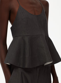 Bonded Wesson Linen Sculpted Peplum Cami Storm Grey-5