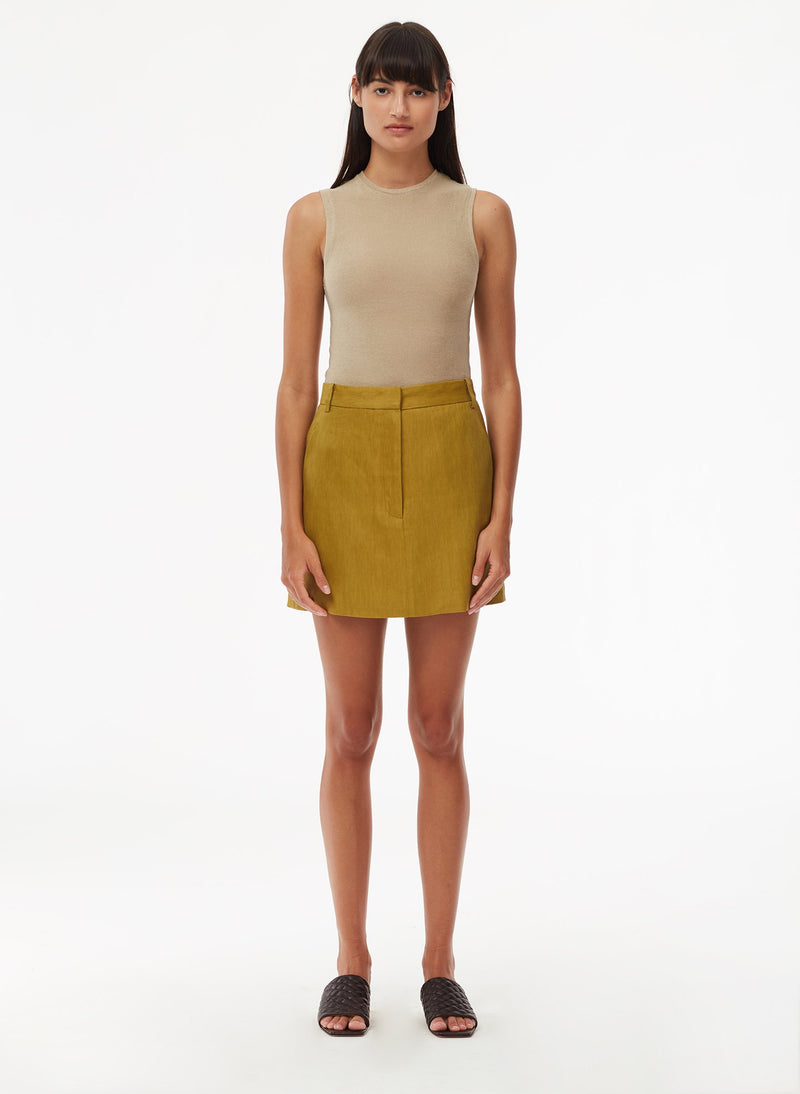 Wesson Linen High Waisted Mini Skirt Tan Ochre-1