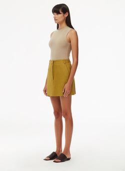 Wesson Linen High Waisted Mini Skirt Tan Ochre-2