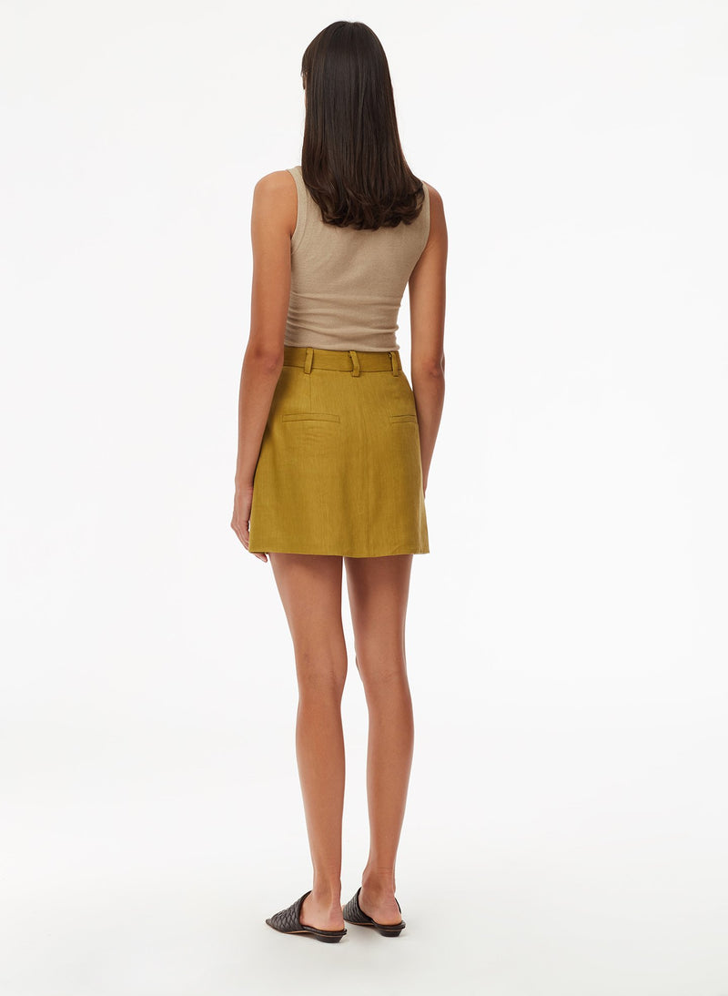 Wesson Linen High Waisted Mini Skirt Tan Ochre-3