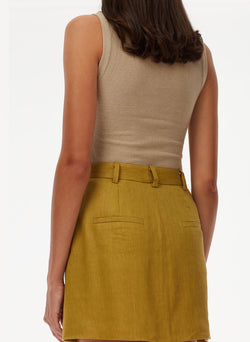Wesson Linen High Waisted Mini Skirt Tan Ochre-4