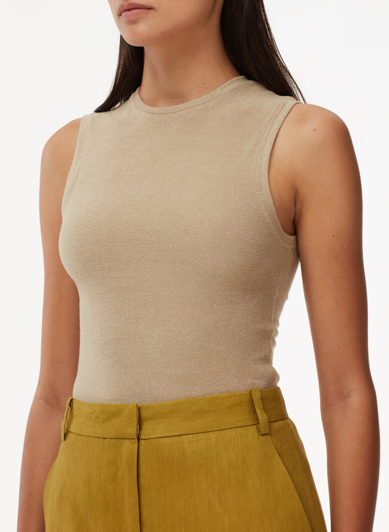 Wesson Linen High Waisted Mini Skirt Tan Ochre-5