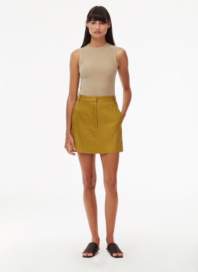 Wesson Linen High Waisted Mini Skirt Tan Ochre-6