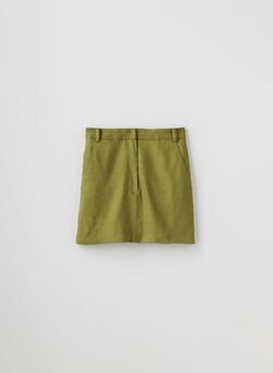 Wesson Linen High Waisted Mini Skirt Tan Ochre-8