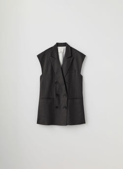 Wesson Linen Double Breasted Vest Storm Grey-3