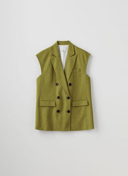 Wesson Linen Double Breasted Vest Tan Ochre-10