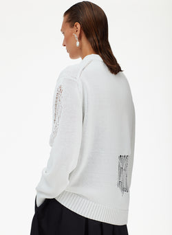 Applique Cotton Crewneck Pullover Applique Cotton Crewneck Pullover