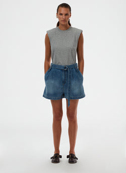 Classic Wash Denim Pleated Short Classic Wash Denim Pleated Short