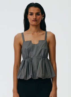 Eco Poplin Strappy Balloon Peplum Top Eco Poplin Strappy Balloon Peplum Top