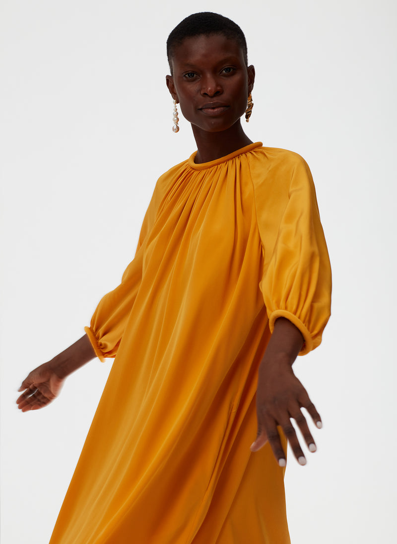Eco Silk Shirred Neck Pitched Dress Eco Silk Shirred Neck Pitched Dress