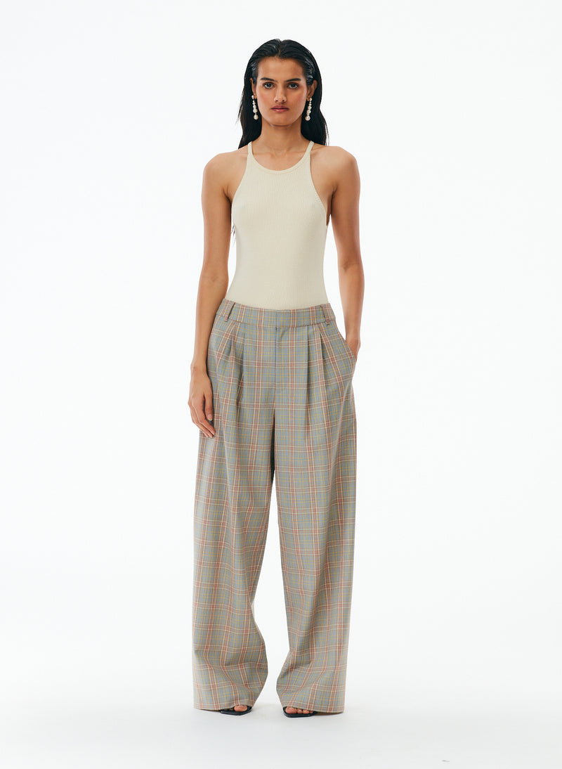 Nova Plaid Stella Pleated Pant Nova Plaid Stella Pleated Pant
