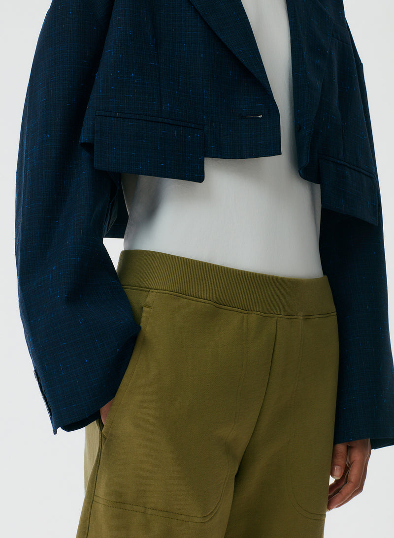 Crosshatch Cropped Oversized Blazer Crosshatch Cropped Oversized Blazer