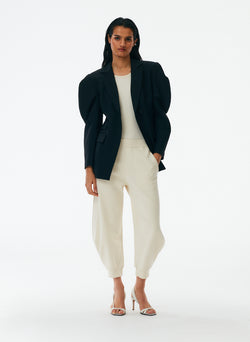 Tropical Wool Scallop Sleeve Blazer Tropical Wool Scallop Sleeve Blazer