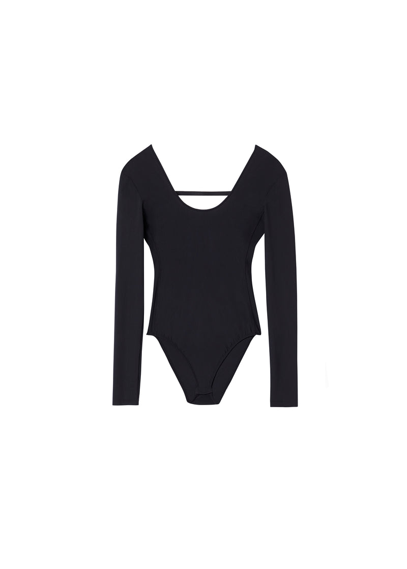 Stretch Scoop Neck Bodysuit Black-2