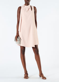Chalky Drape Pleat Neck Shift Dress Blush-1