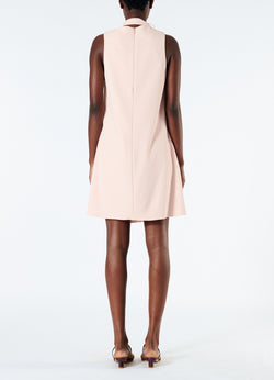 Chalky Drape Pleat Neck Shift Dress Blush-3