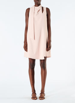 Chalky Drape Pleat Neck Shift Dress Blush-4