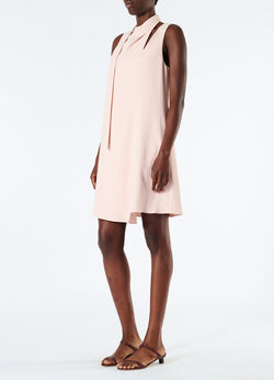 Chalky Drape Pleat Neck Shift Dress Blush-5