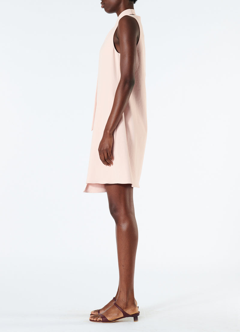 Chalky Drape Pleat Neck Shift Dress Blush-6