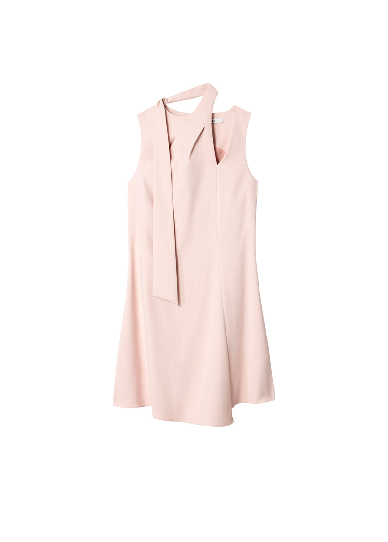 Chalky Drape Pleat Neck Shift Dress Blush-2