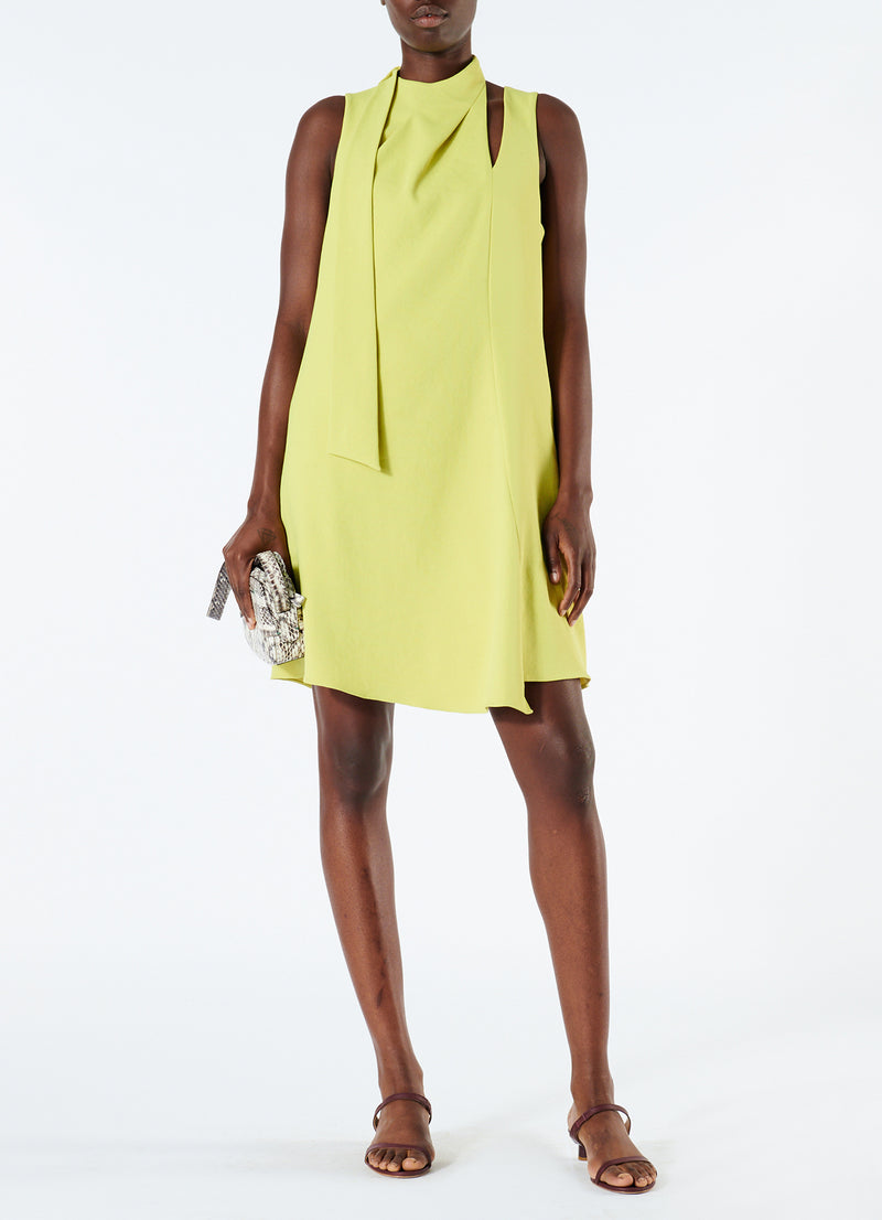 Chalky Drape Pleat Neck Shift Dress Xanthe Yellow-1