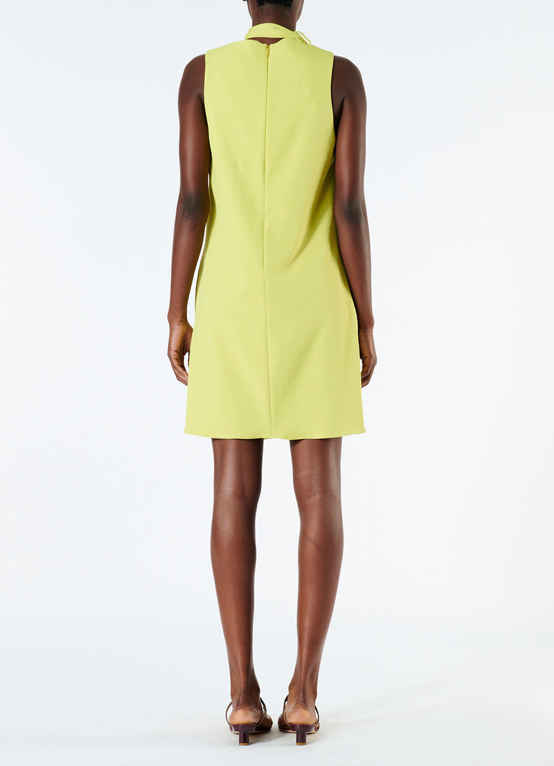 Chalky Drape Pleat Neck Shift Dress Xanthe Yellow-3