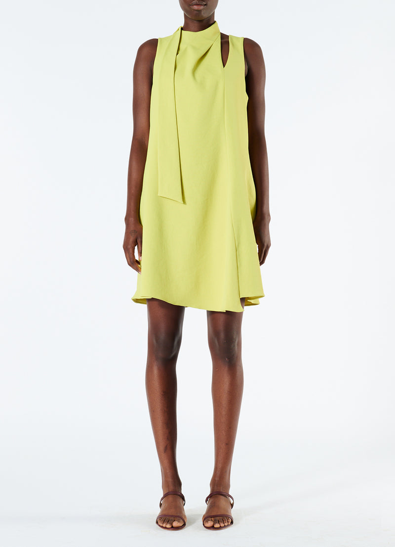 Chalky Drape Pleat Neck Shift Dress Xanthe Yellow-4