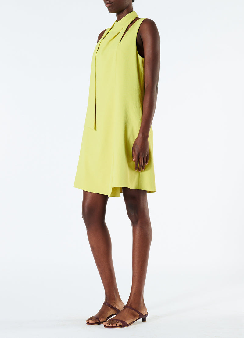 Chalky Drape Pleat Neck Shift Dress Xanthe Yellow-5