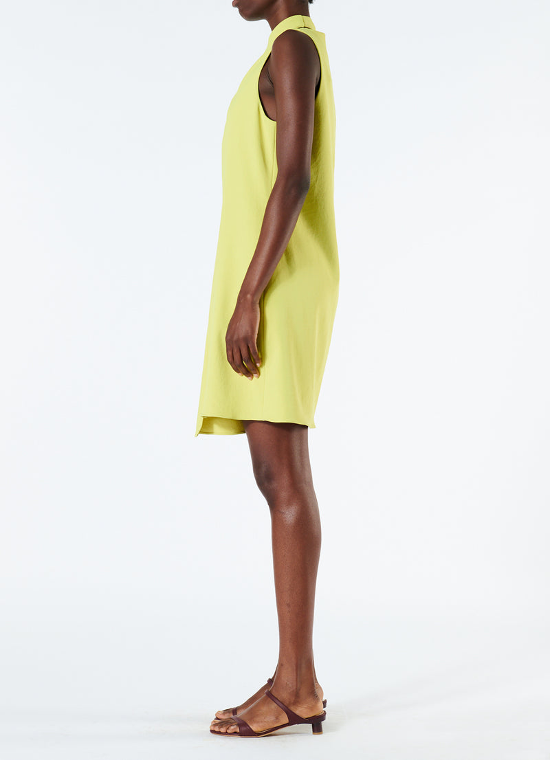Chalky Drape Pleat Neck Shift Dress Xanthe Yellow-6
