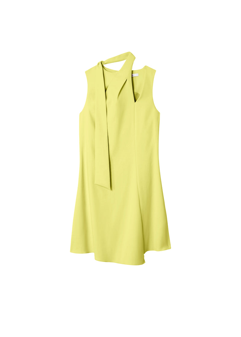 Chalky Drape Pleat Neck Shift Dress Xanthe Yellow-2