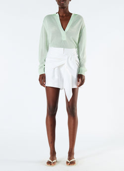 Compact Cotton Shorts with Removable Tie White-4