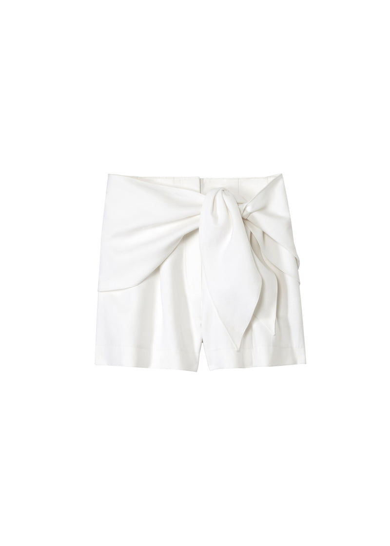Compact Cotton Shorts with Removable Tie White-2