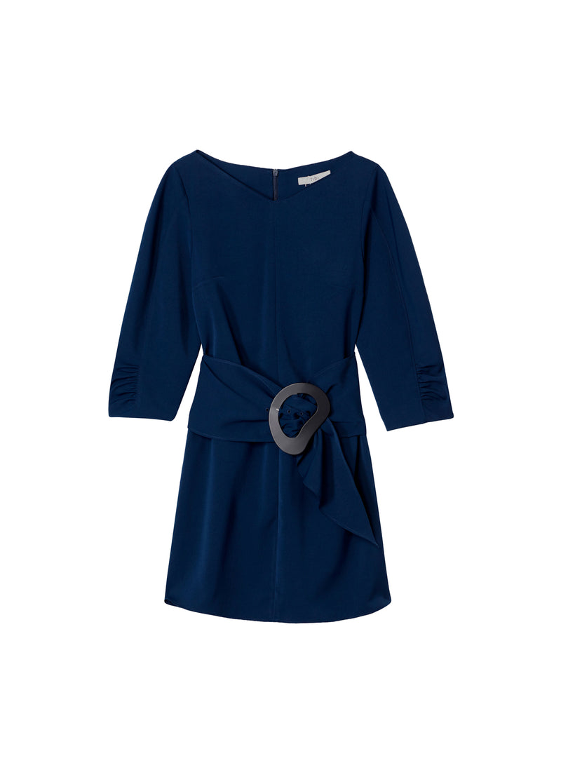 Drape Twill Shirred Sleeve Dress with Removable Belt Navy-2