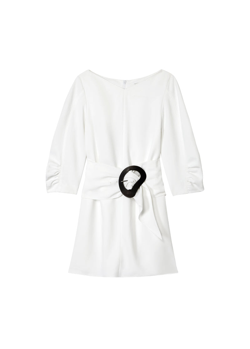 Drape Twill Shirred Sleeve Dress with Removable Belt White-2
