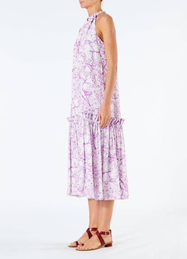 Silk Isa Toile Tie Neck Dress