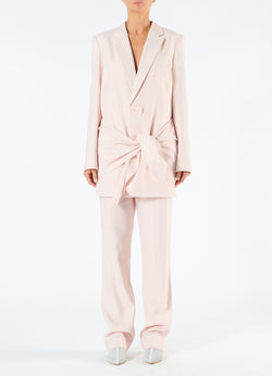 Linen Viscose Long Blazer with Removable Tie Baby Pink-1