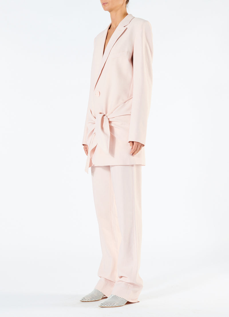 Linen Viscose Long Blazer with Removable Tie Baby Pink-4