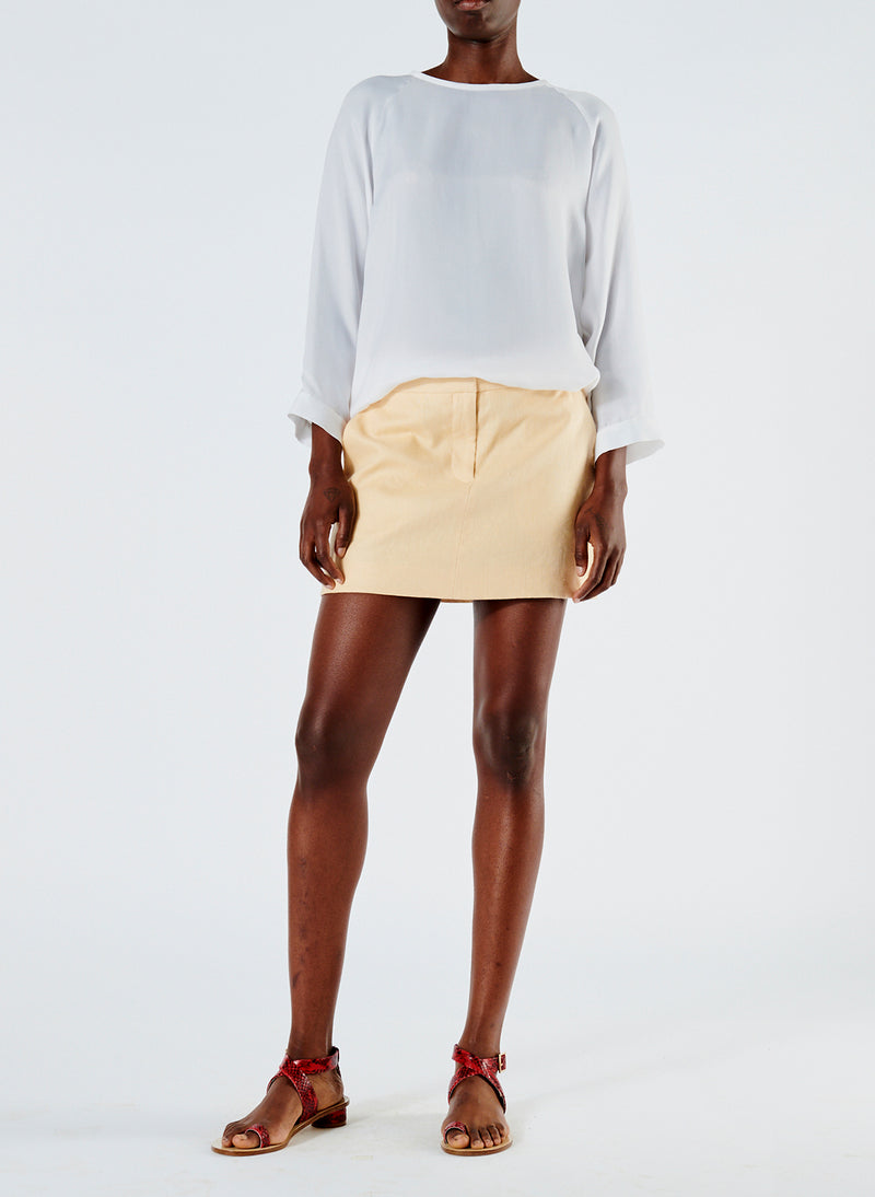 Linen Viscose Suiting Mini Skirt with Removable Tie Pale Yellow-1