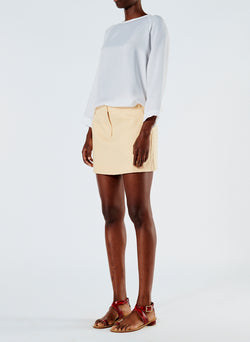 Linen Viscose Suiting Mini Skirt with Removable Tie Pale Yellow-2