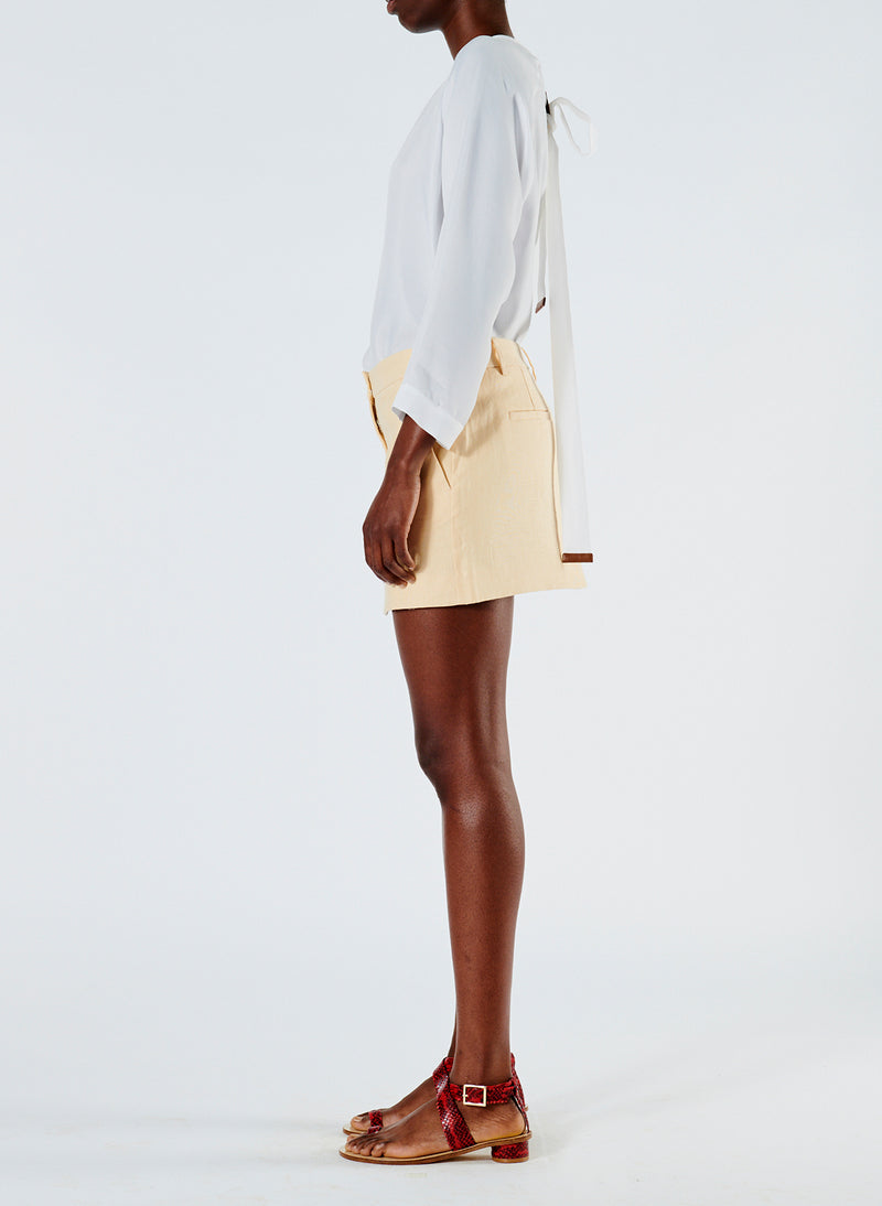 Linen Viscose Suiting Mini Skirt with Removable Tie Pale Yellow-4