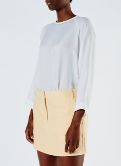 Linen Viscose Suiting Mini Skirt with Removable Tie Pale Yellow-5