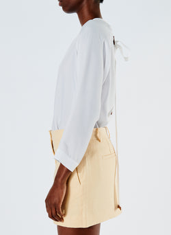 Linen Viscose Suiting Mini Skirt with Removable Tie Pale Yellow-6