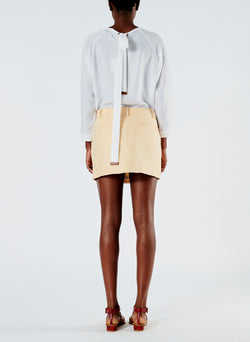 Linen Viscose Suiting Mini Skirt with Removable Tie Pale Yellow-3