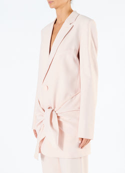 Linen Viscose Long Blazer with Removable Tie Baby Pink-5