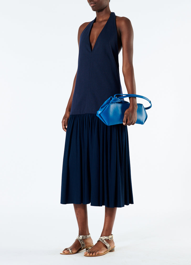 Punto Milano V-Neck Halter Dress Navy-1