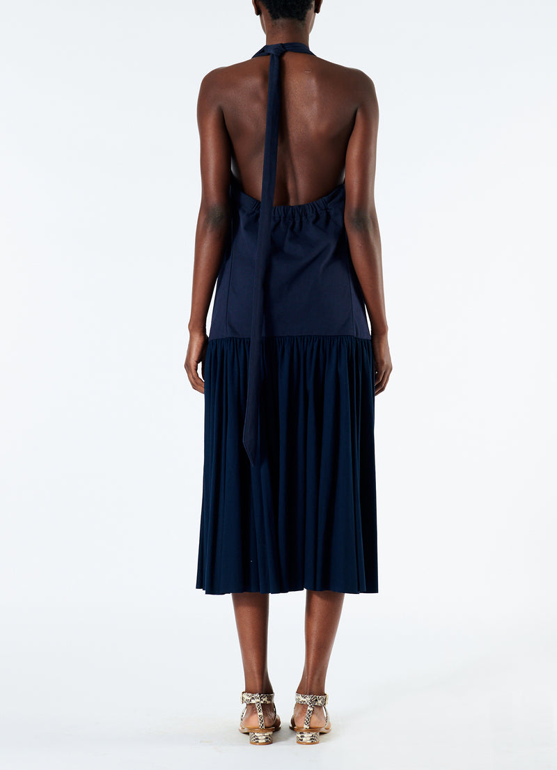 Punto Milano V-Neck Halter Dress Navy-3
