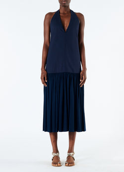 Punto Milano V-Neck Halter Dress Navy-4
