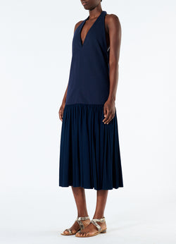 Punto Milano V-Neck Halter Dress Navy-5