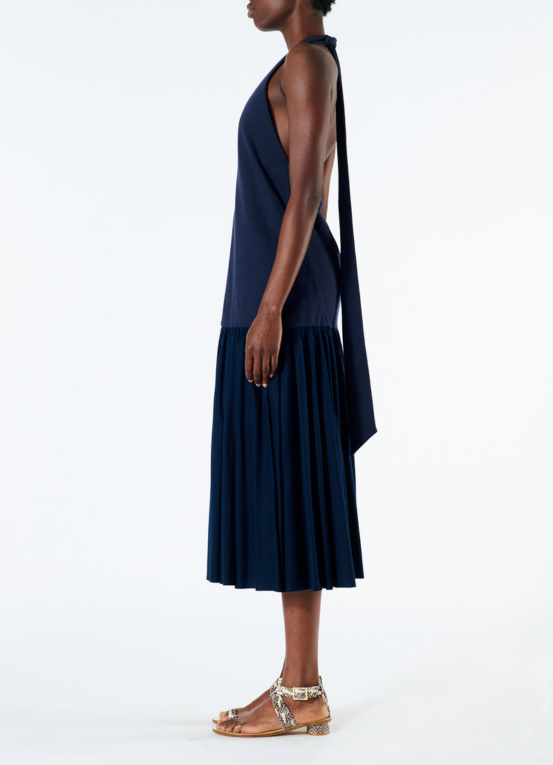 Punto Milano V-Neck Halter Dress Navy-6