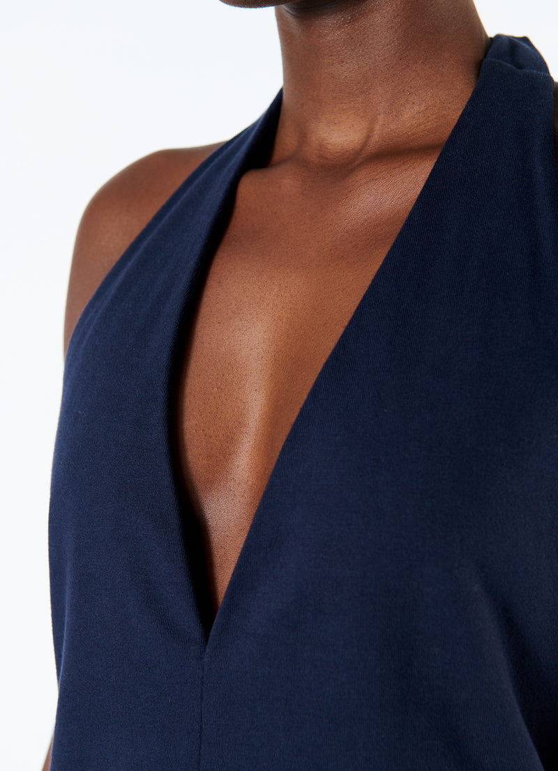 Punto Milano V-Neck Halter Dress Navy-7